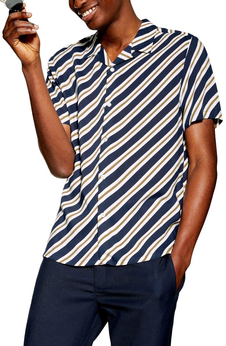 TOPMAN Diagonal Stripe Shirt, Main, color, BLUE MULTI