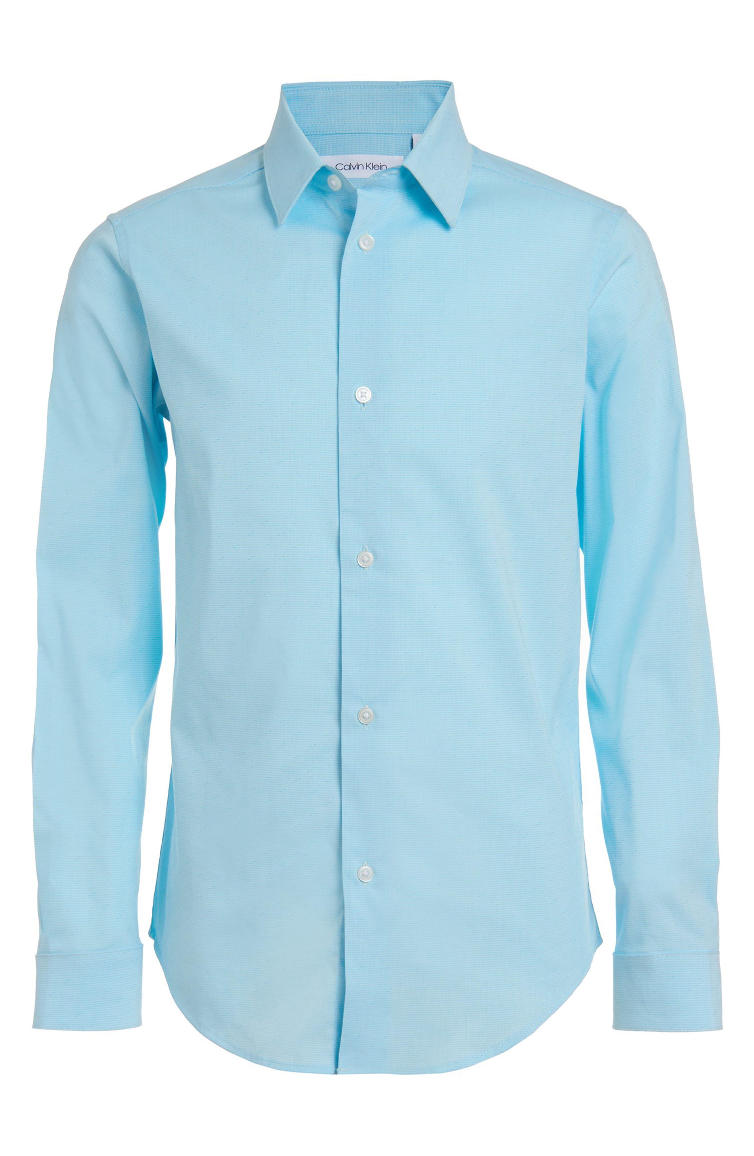 Image of Calvin Klein Long Sleeve Stretch Diagonal Dobby Shirt