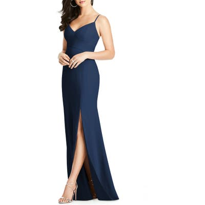 Dessy Collection Crisscross Seam Crepe Gown, Blue