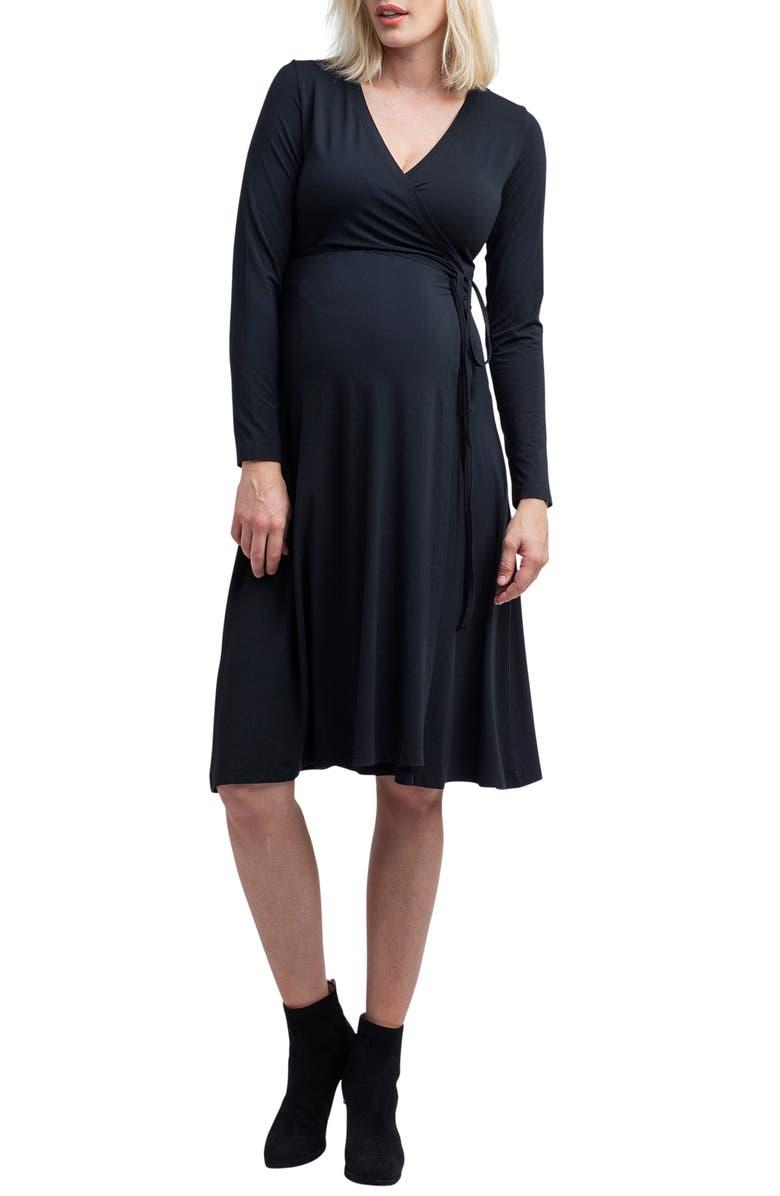NOM MATERNITY Tessa Jersey Maternity/Nursing Wrap Dress, Main, color, BLACK