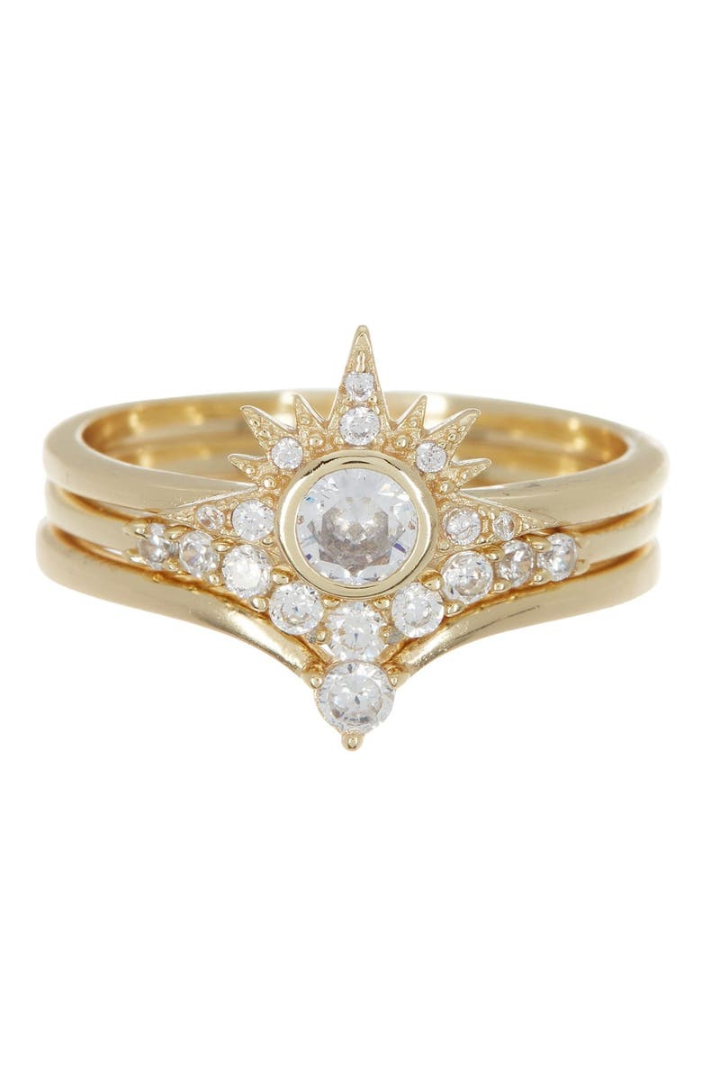 MELINDA MARIA Alexis CZ Stacking Rings - Size 5, Main, color, GOLD