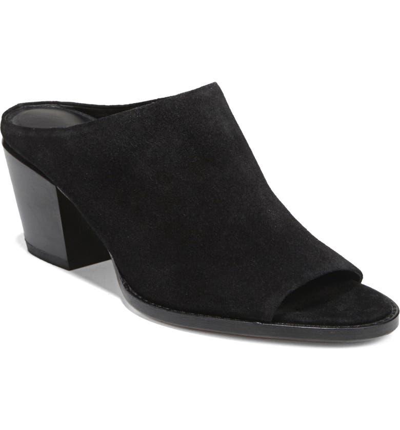 VINCE Vedra Mule Sandal, Main, color, BLACK SUEDE