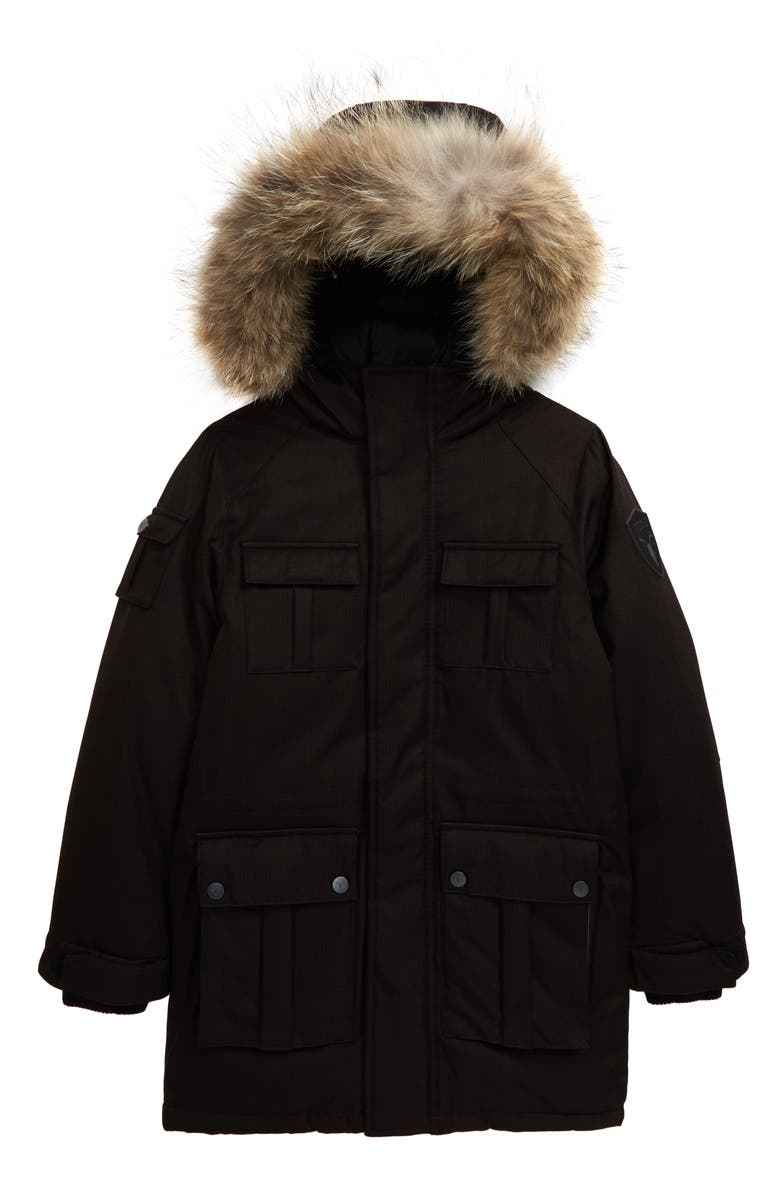 NOBIS Lil Kimmarut Hooded Down Parka with Removable Genuine Coyote Fur Trim, Main, color, BLACK