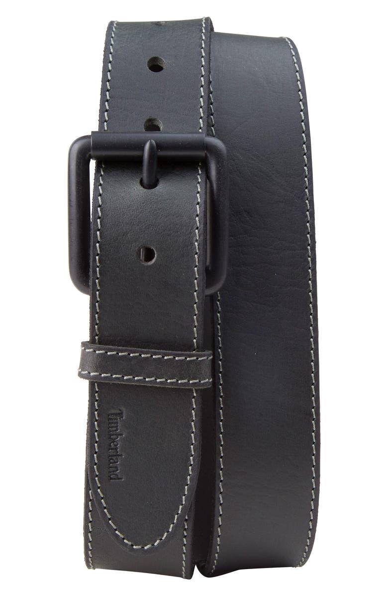 TIMBERLAND Leather Belt, Main, color, BLACK