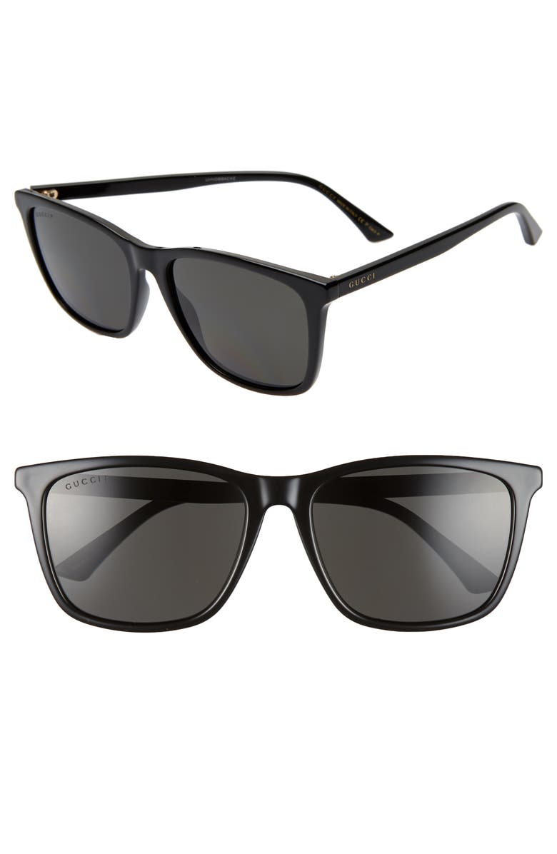 GUCCI 58mm Polarized Sunglasses, Main, color, BLACK