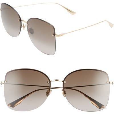 Dior Stell 62Mm Special Fit Oversize Rimless Sunglasses - Rose Gold/ Brown Gradient