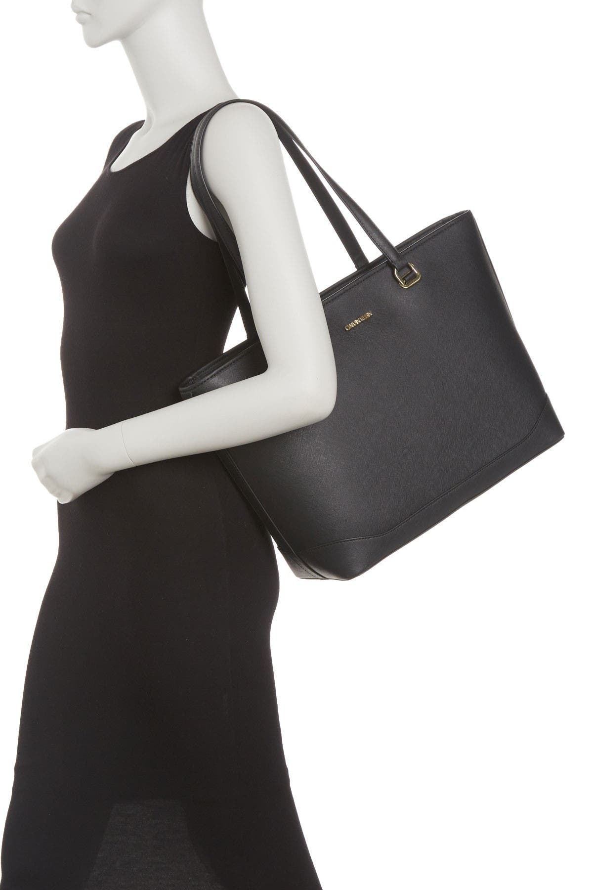 Image of Calvin Klein Mercy Saffiano Largo Top Zip Tote