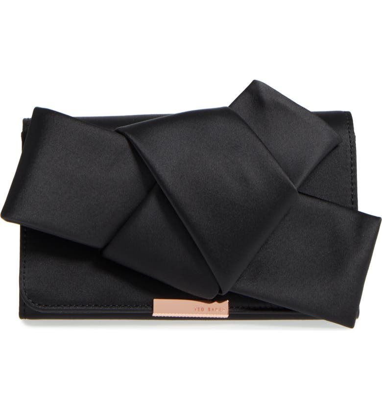 TED BAKER LONDON Fefee Satin Knotted Bow Clutch, Main, color, 001