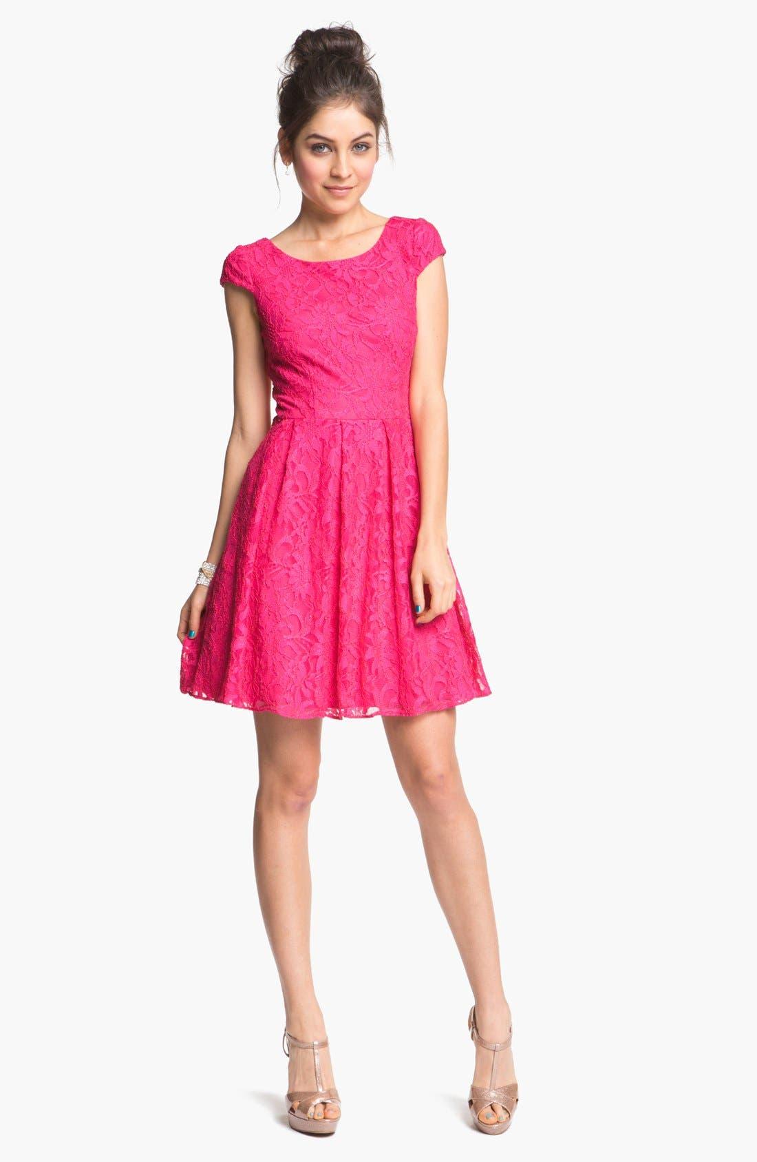 ,                             Lace Fit & Flare Dress,                             Main thumbnail 4, color,                             670