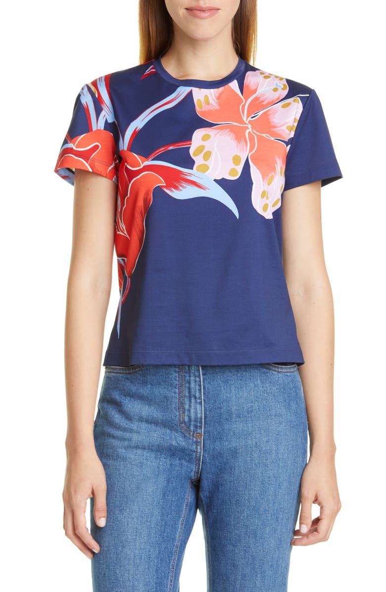 ETRO Large Floral Print Crewneck Tee, Main, color, NAVY