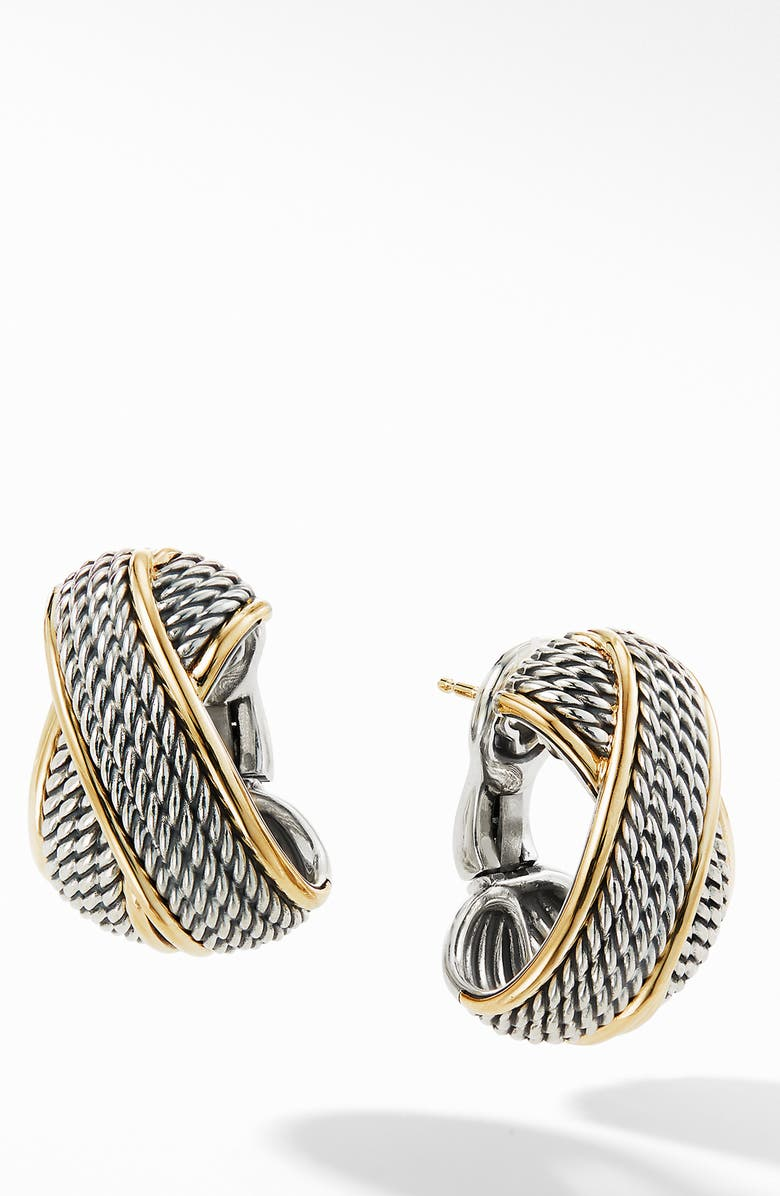 DAVID YURMAN Origami Crossover Shrimp Earrings with 18K Yellow Gold, Main, color, SILVER/ YELLOW GOLD