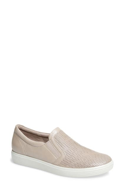 Image of ECCO Soft Classic Perforated Leather Slip-On Sneaker