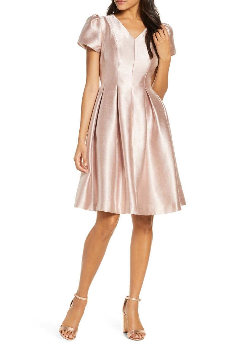 RACHEL PARCELL Shine Satin Twill Party Dress, Main, color, PINK DUST