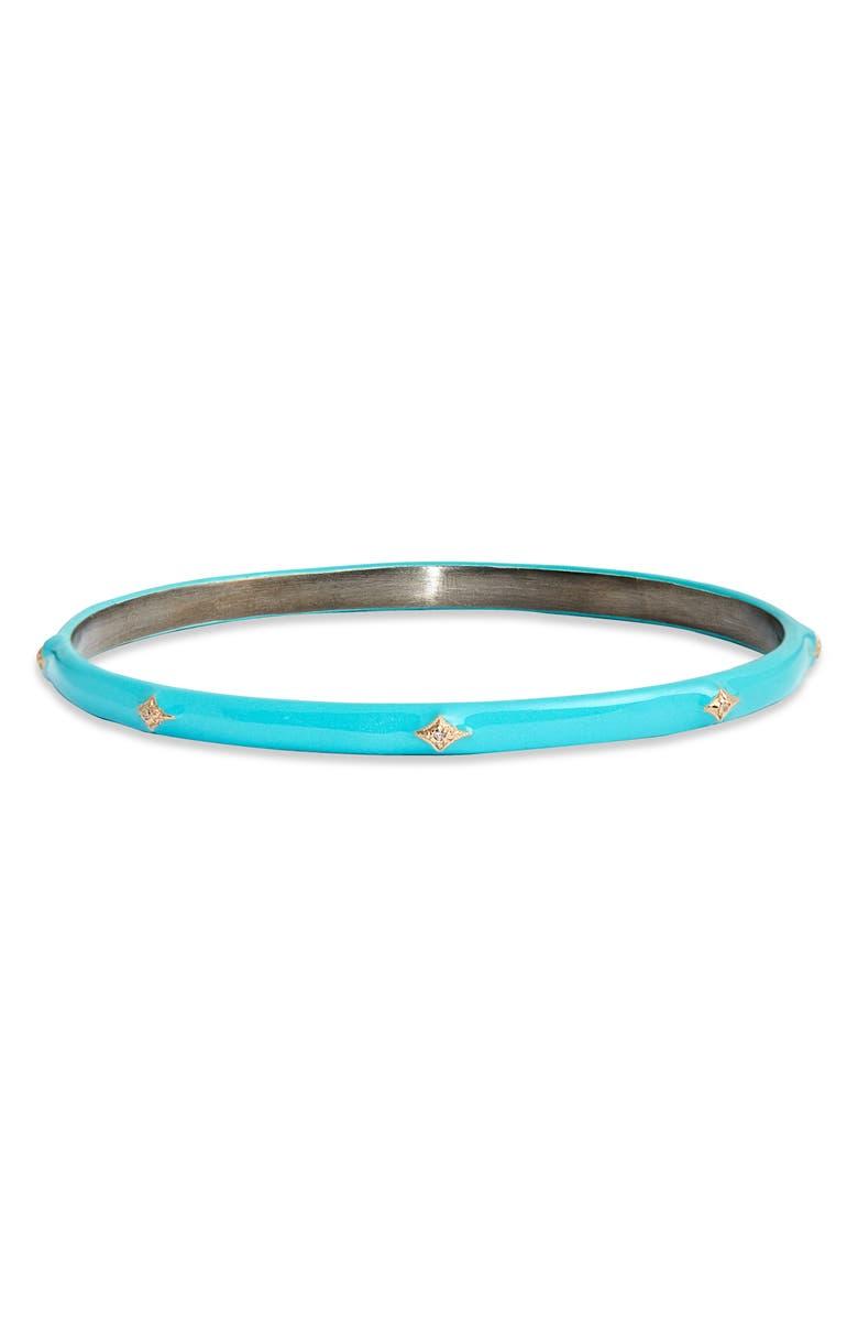 ARMENTA New World 14k Gold & Enamel Bangle Bracelet, Main, color, TURQUOISE ENAMEL
