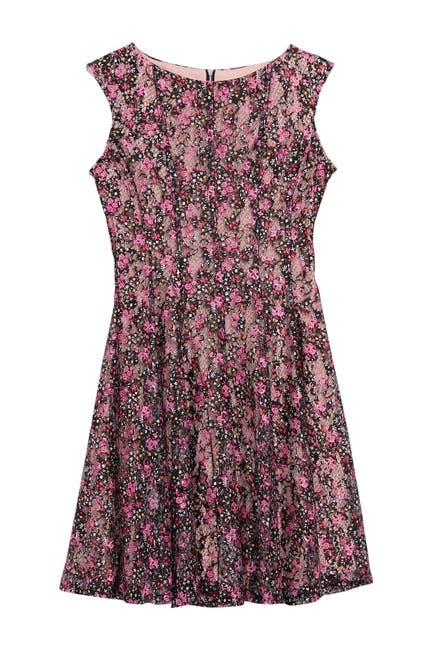 Image of Gabby Skye Floral Print Lace Dress