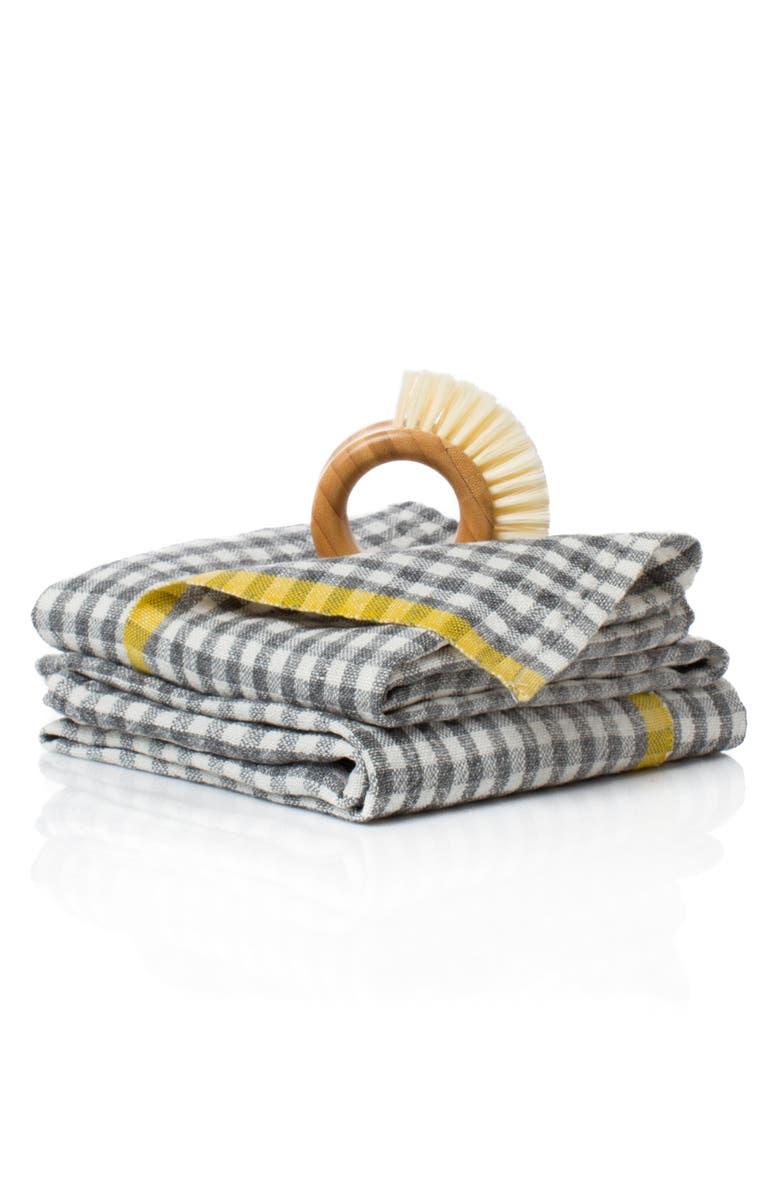CARAVAN Set of 2 Two-Tone Gingham Tea Towels, Main, color, 020