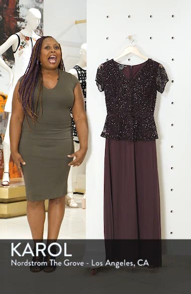 Beaded V-Neck Mock Two-Piece Gown, sales video thumbnail