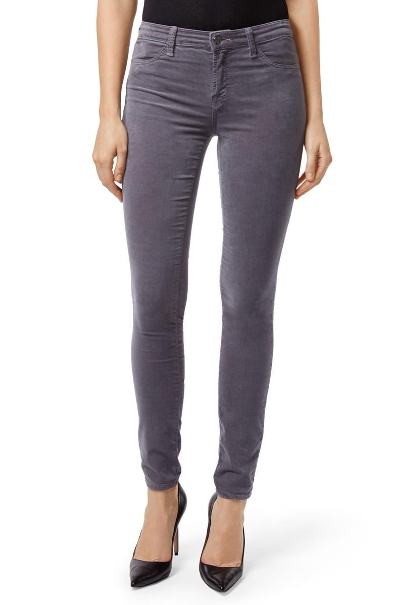 J BRAND '815' Mid Rise Velveteen Super Skinny Jeans, Main, color, 030