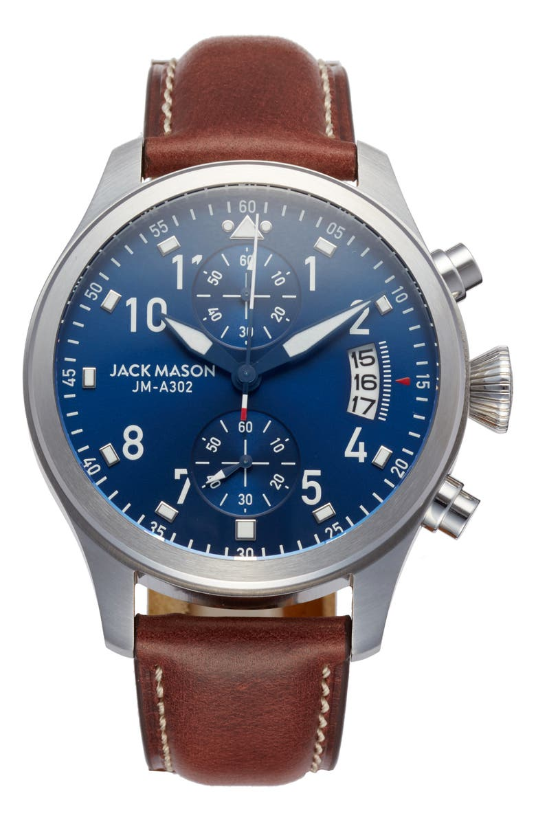 JACK MASON Aviation Chronograph Leather Strap Watch, 45mm, Main, color, 200