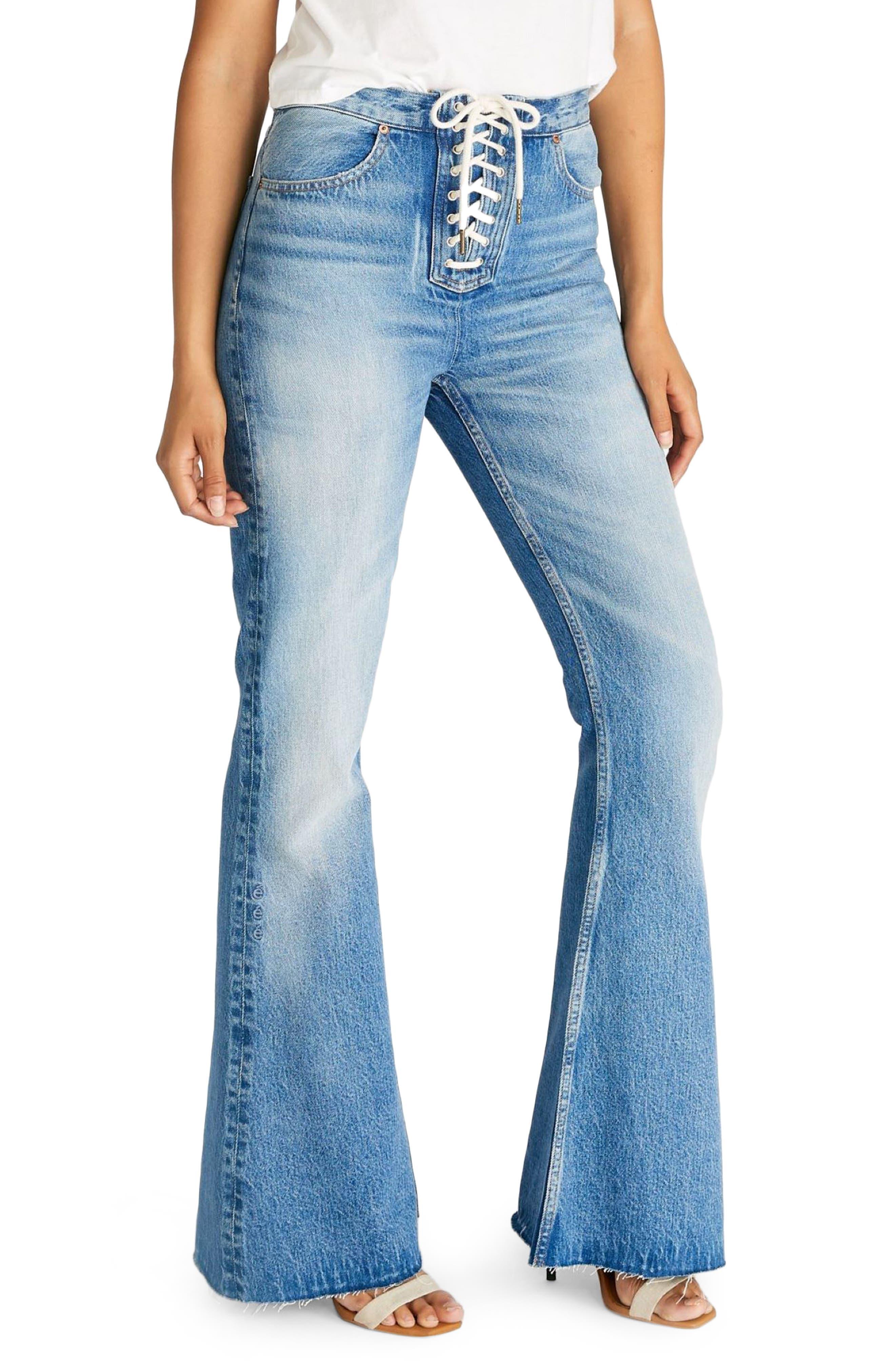 60s Pants, Jeans, Hippie, Flares, Jumpsuits ETICA Nina Lace-Up Flare Leg Jeans Size 31 in Cottonwood Creek at Nordstrom Rack $59.97 AT vintagedancer.com