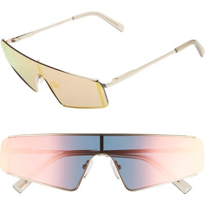 Le Specs Cyberfame 14m Flat Top Shield Sunglasses - Gold/ Rose