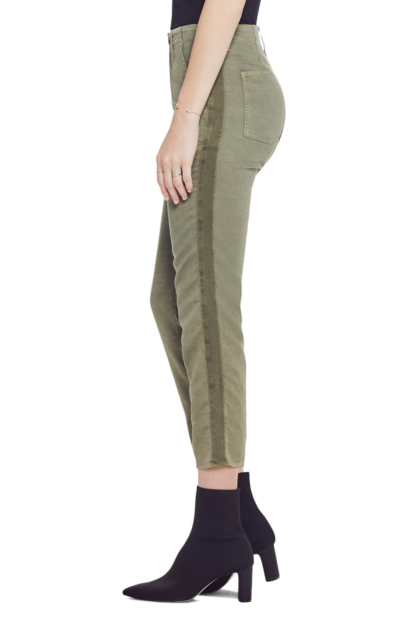 ,                             The Shaker High Waist Raw Crop Pants,                             Alternate thumbnail 4, color,                             ARMY GREEN