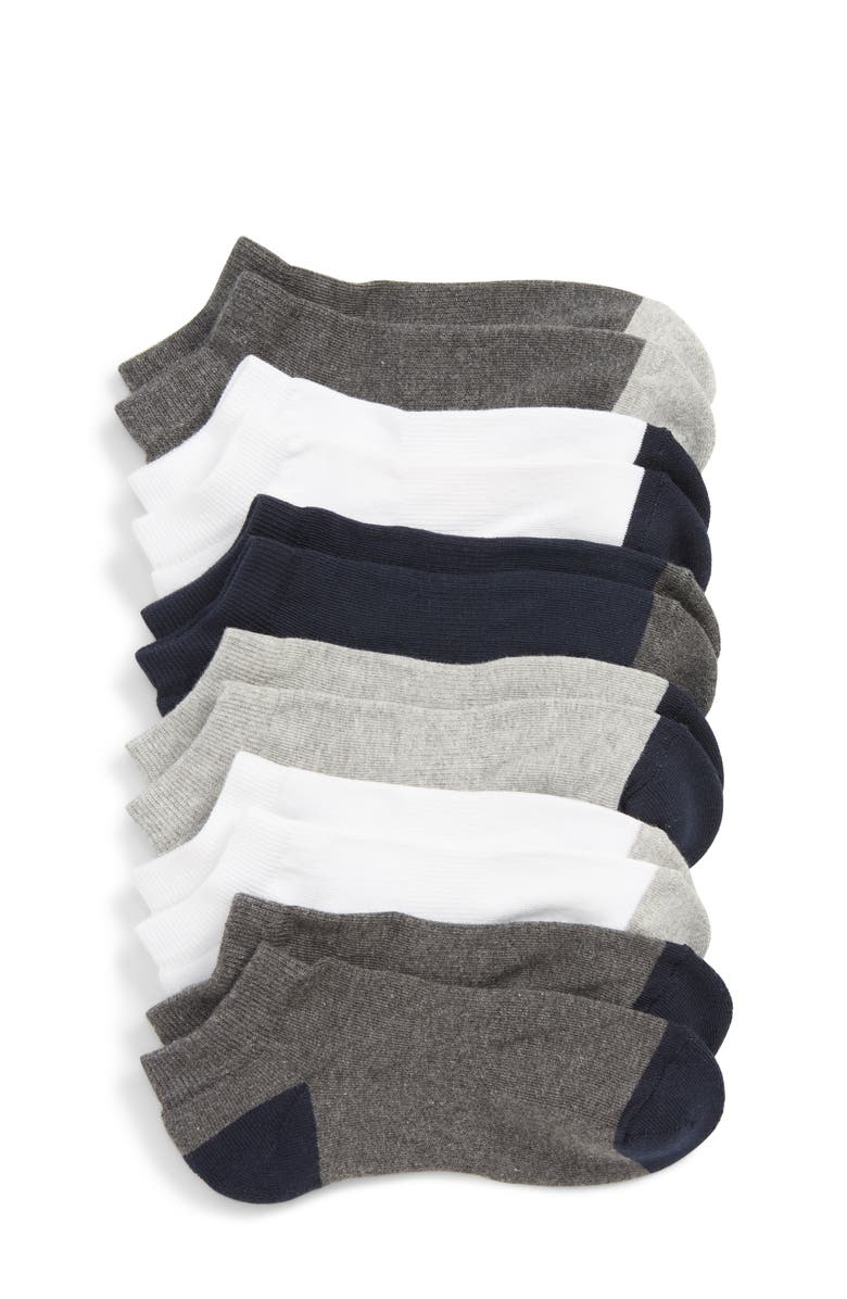 TUCKER + TATE Kids' 6-Pack Low Cut Socks, Main, color, WHITE GREY HEATHER