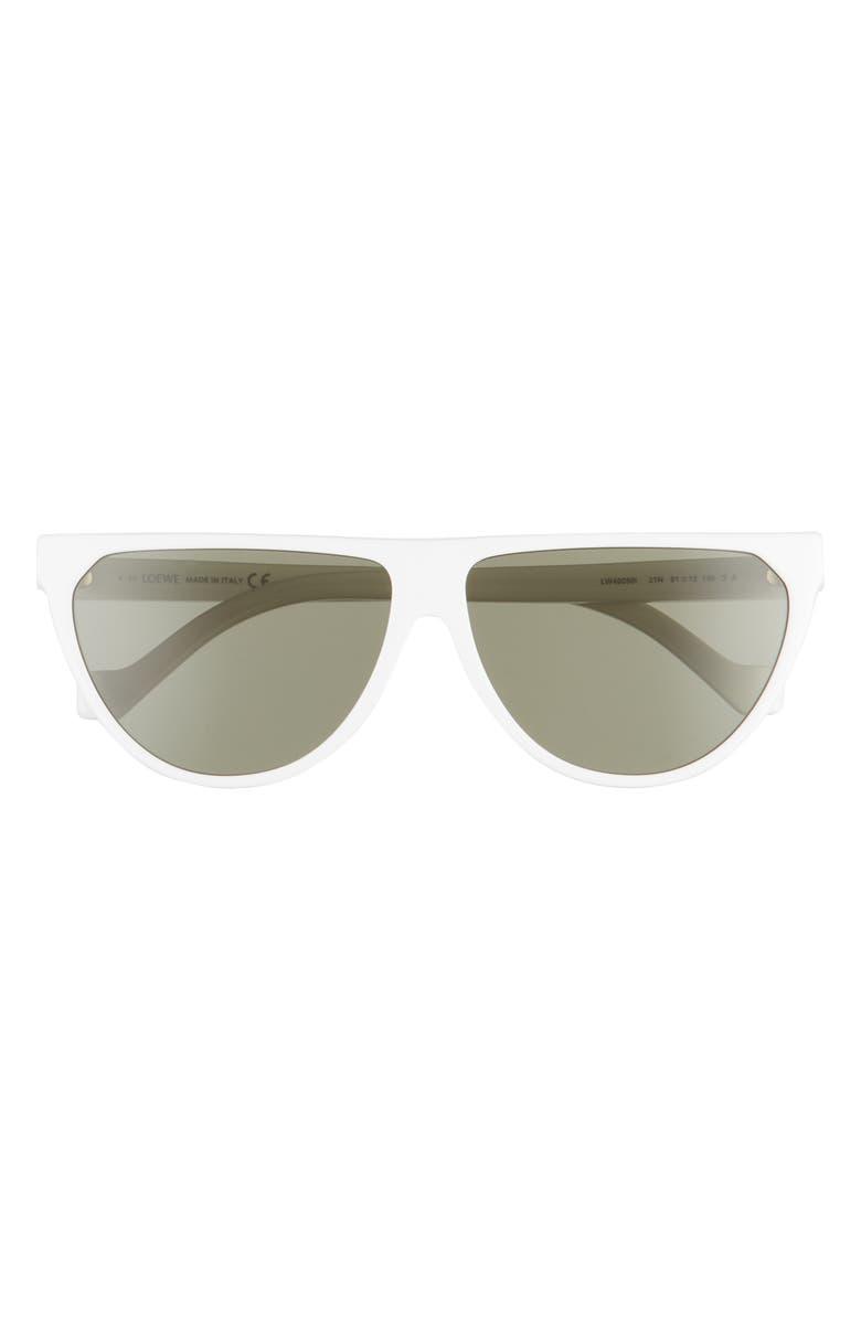 LOEWE 61mm Flat Top Sunglasses, Main, color, WHITE/ GREEN