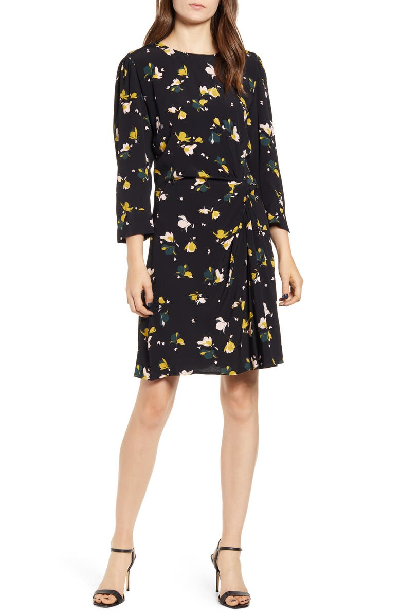 CHELSEA28 Twist Detail Dress, Main, color, BLACK- OLIVE PRINT MIX