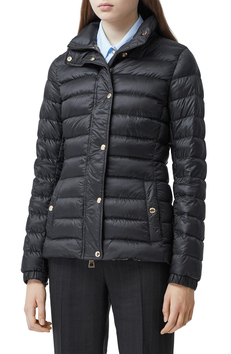 BURBERRY Paisley Down Puffer Coat, Main, color, BLACK