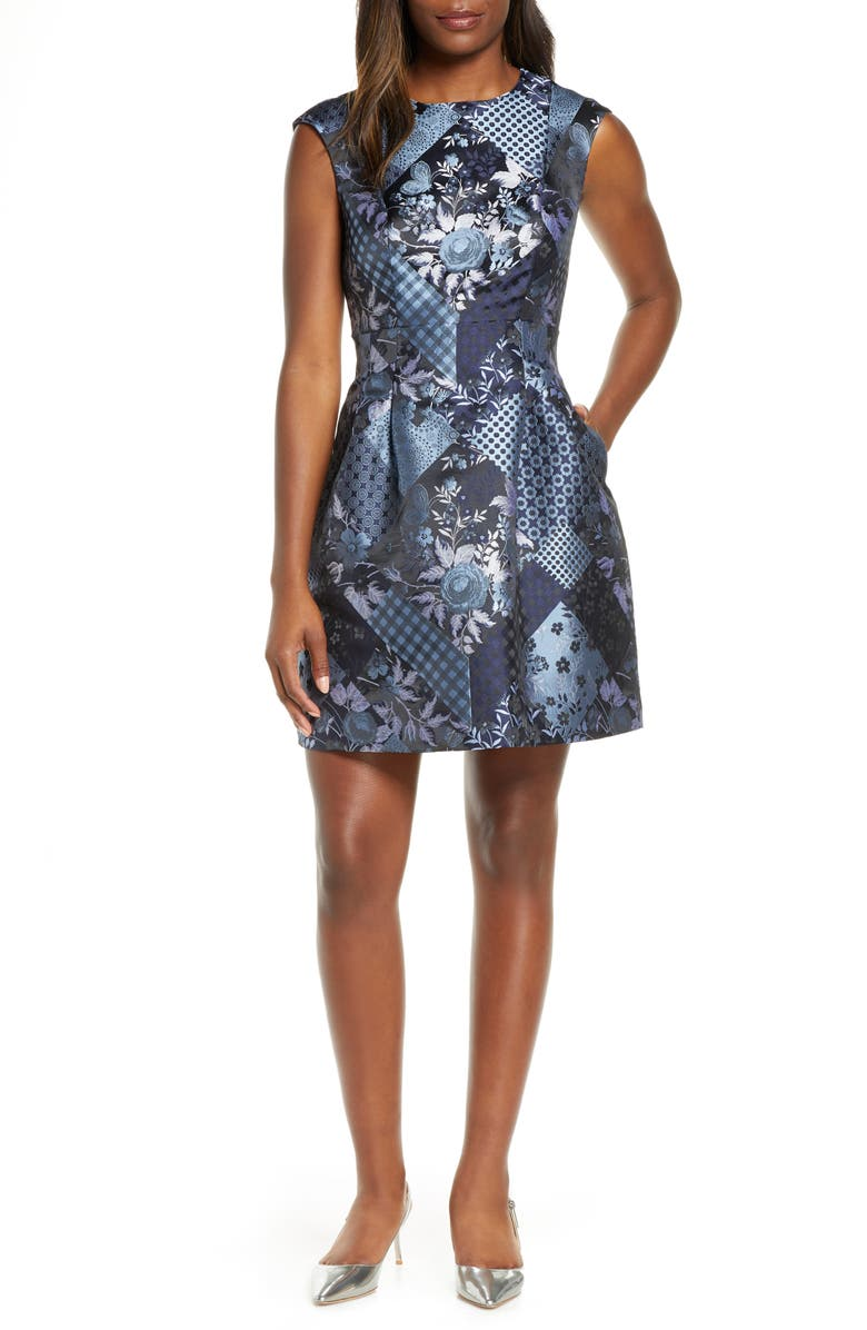 VINCE CAMUTO Patchwork Jacquard Fit & Flare Dress, Main, color, 409
