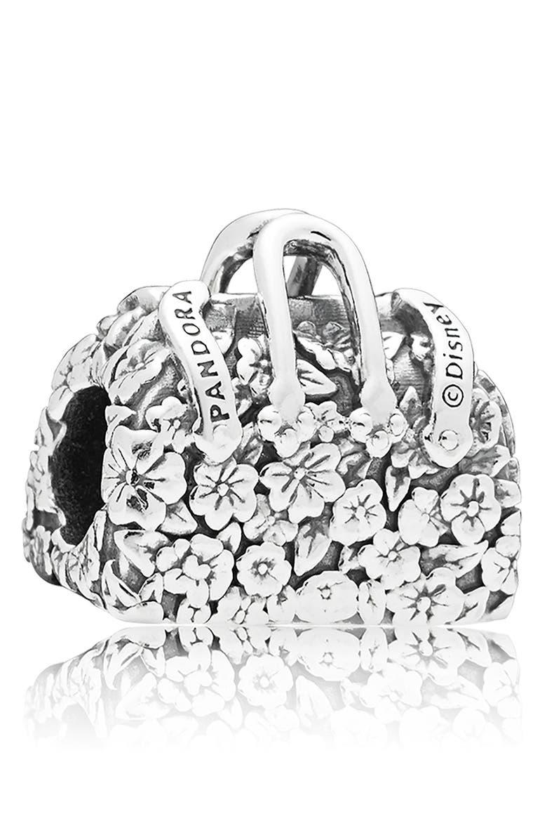 PANDORA Disney Mary Poppins Flower Bag Charm, Main, color, SILVER
