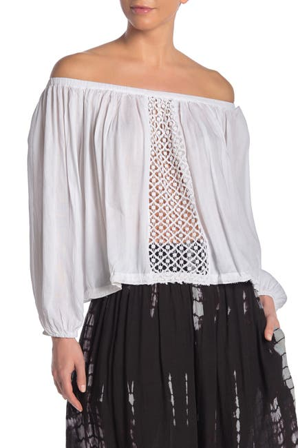 Image of BOHO ME Crochet Panel Off-the-Shoulder Cover-Up Top