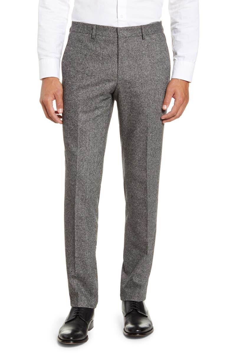 BOSS Giro Flat Front Tweed Stretch Wool Blend Dress Pants, Main, color, MEDIUM GREY