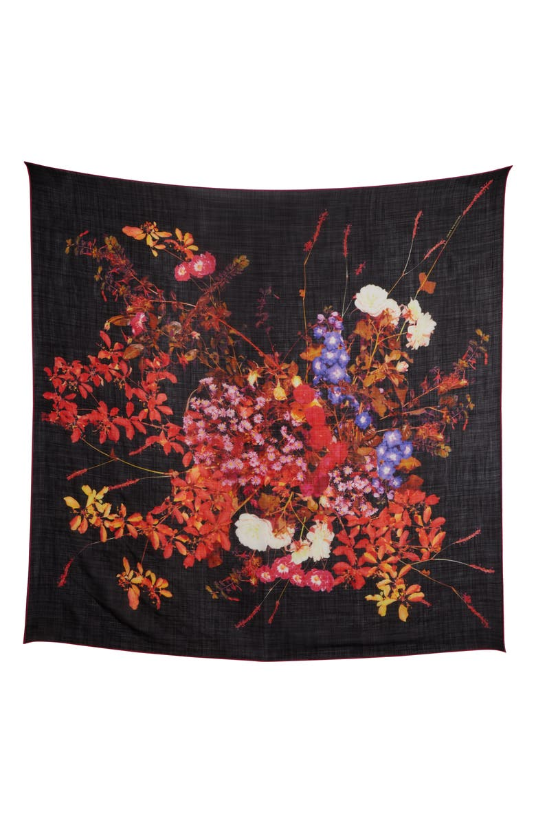 DRIES VAN NOTEN Floral Wool Square Scarf, Main, color, BLACK
