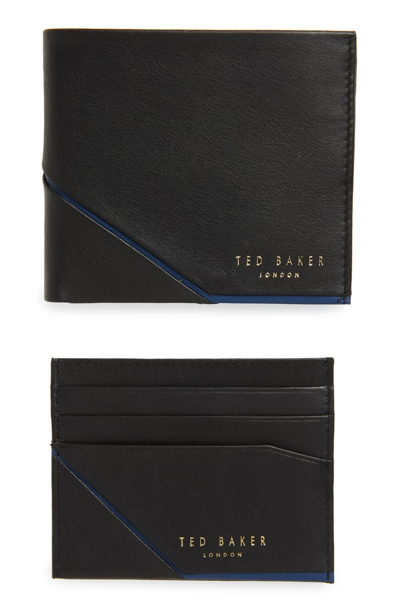 TED BAKER LONDON Leather Wallet and Card Case Gift Set, Main, color, 001
