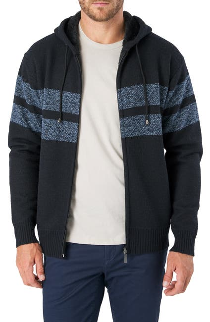 Image of 7 Diamonds Dublin Striped Hooded Zip Sweater
