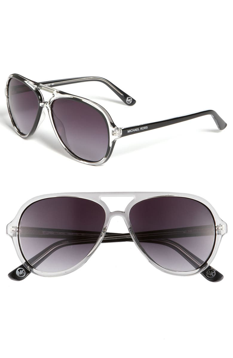 MICHAEL MICHAEL KORS 57mm Aviator Sunglasses, Main, color, 001