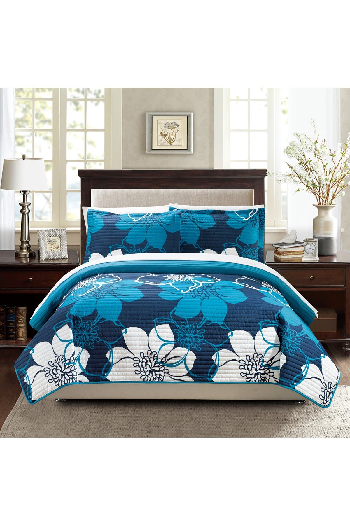 Image of Chic Home Bedding King Miles Abstract Quilt Set - Blue