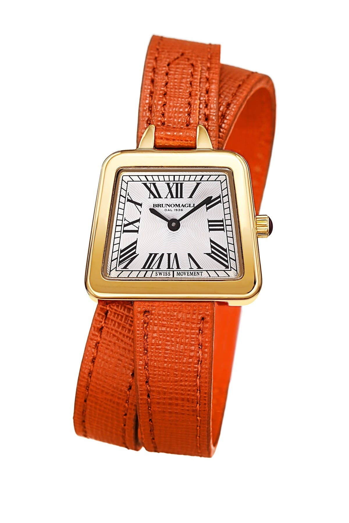 Image of Bruno Magli Women's Emma 1143 Double Wrap Embossed Leather Strap Watch, 30mm