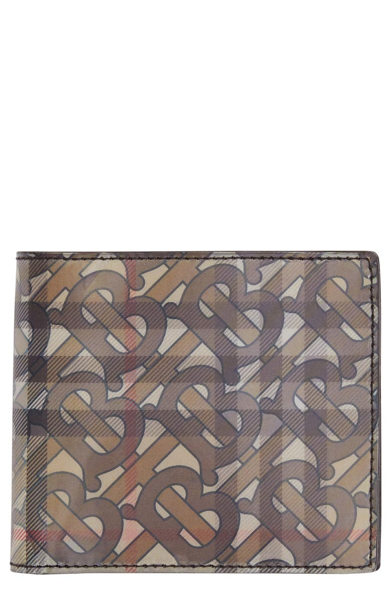 BURBERRY Lenticular Check & TB Monogram Wallet, Main, color, ARCHIVE BEIGE