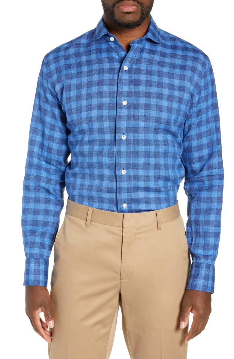 LEDBURY McClellan Slim Fit Check Linen & Cotton Dress Shirt, Main, color, BLUE