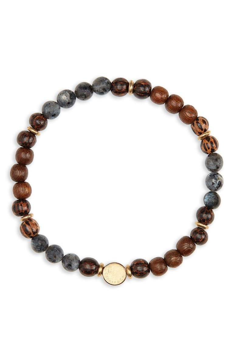 CAPUTO & CO. Stone & Wood Bead Bracelet, Main, color, BLACK/ WOOD