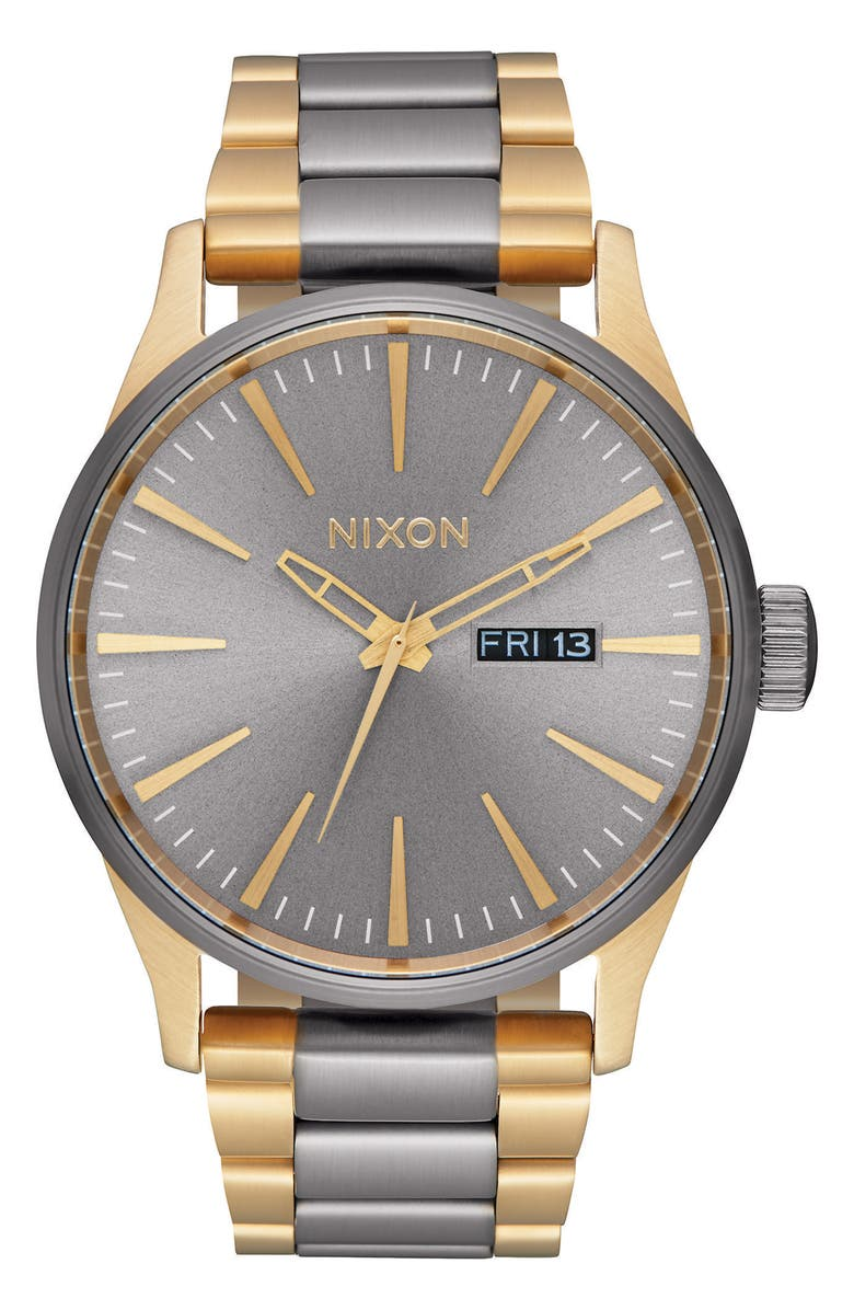 NIXON 'The Sentry' Bracelet Watch, 42mm, Main, color, GUNMETAL/ GOLD
