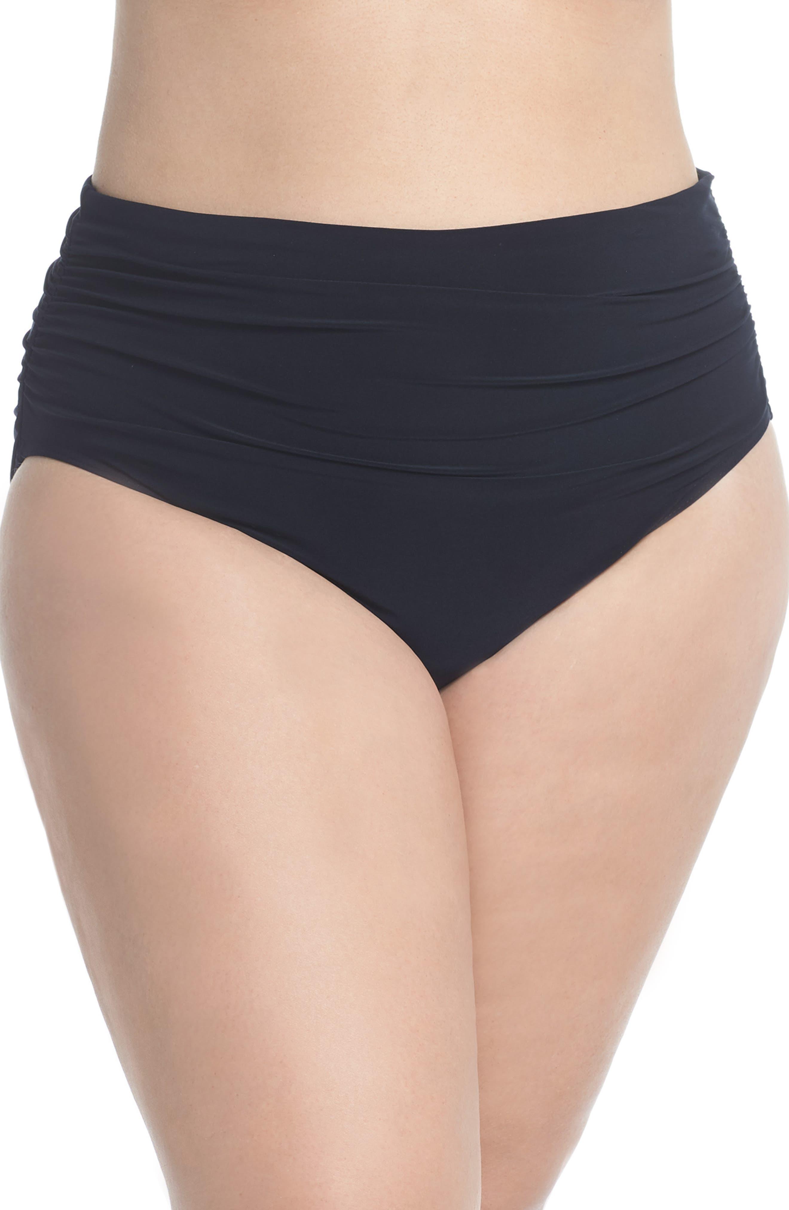 Plus Size Magicsuit Ruched Bikini Bottoms, Black