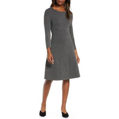 Leota Carly Jacquard Fit & Flare Dress, Grey