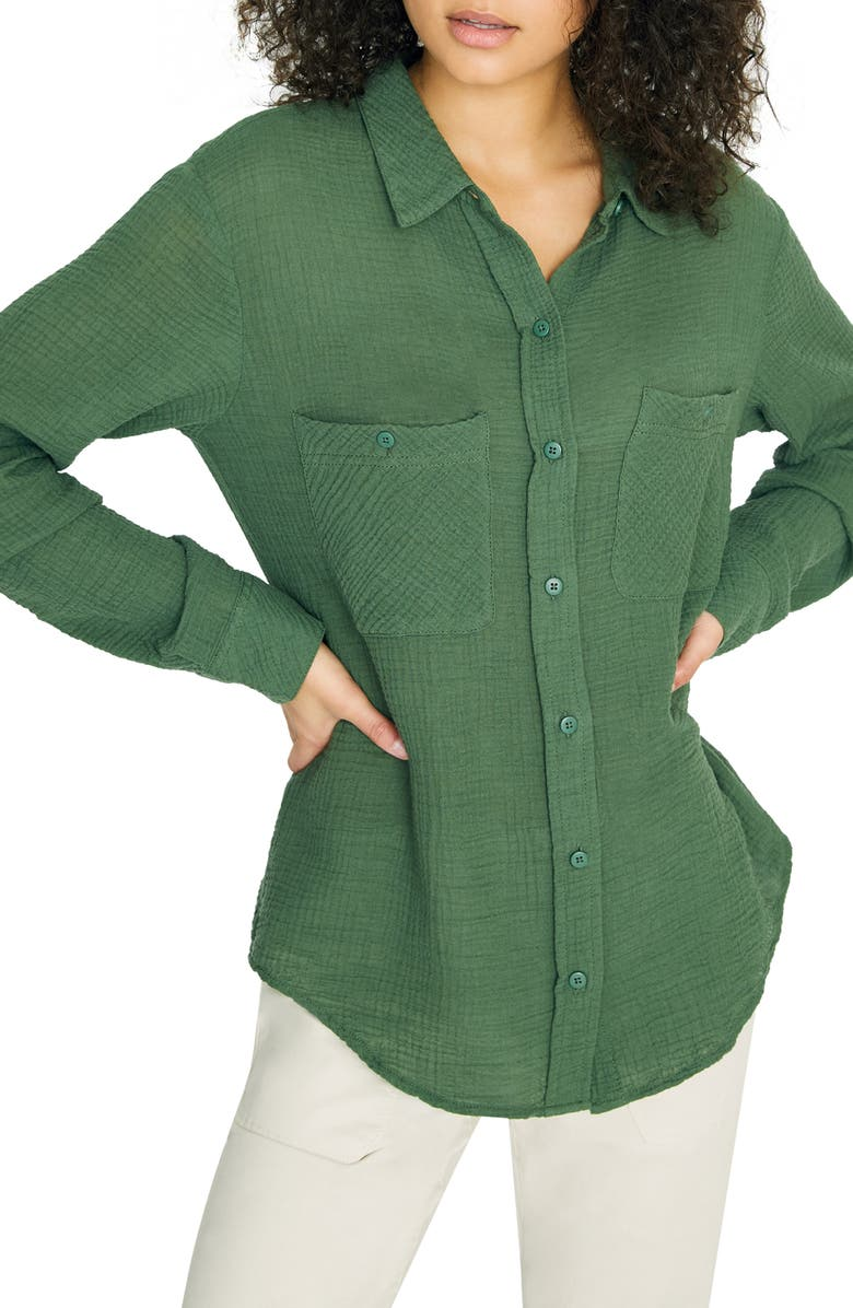 SANCTUARY Steady Boyfriend Roll Tab Shirt, Main, color, PEACE GREEN