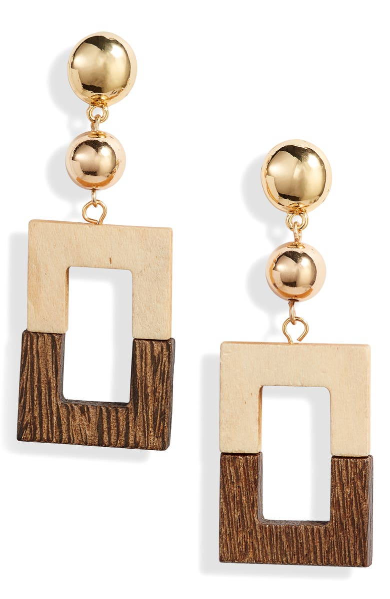 ETTIKA Wood Rectangle Drop Earrings, Main, color, LIGHT BROWN/ GOLD