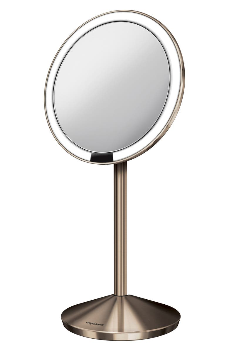 SIMPLEHUMAN Mini Countertop Sensor Makeup Mirror, Main, color, ROSE GOLD