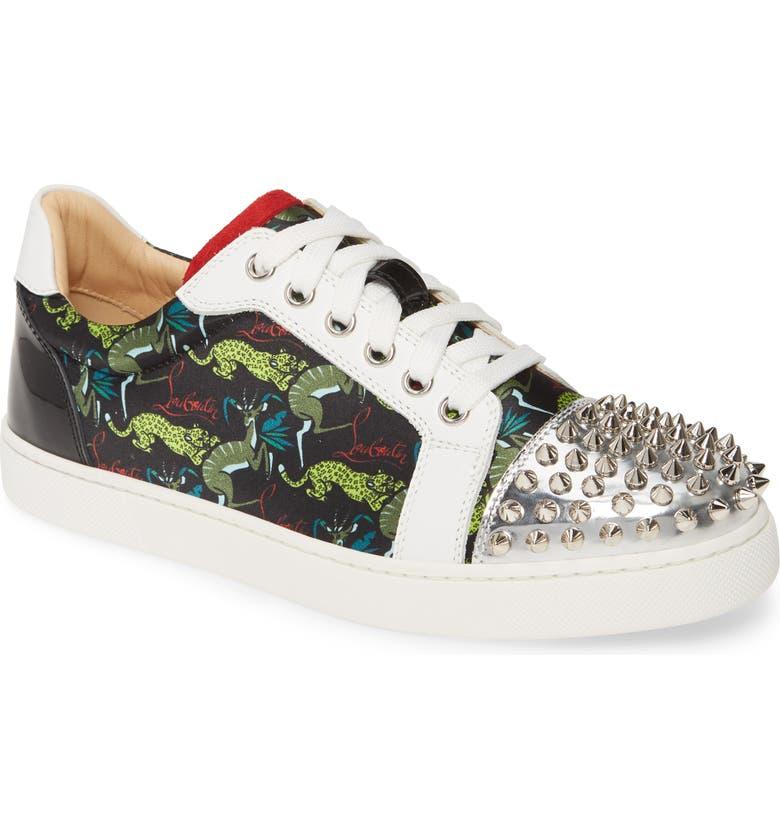 CHRISTIAN LOUBOUTIN Vieira Spike Print Low Top Sneaker, Main, color, 002